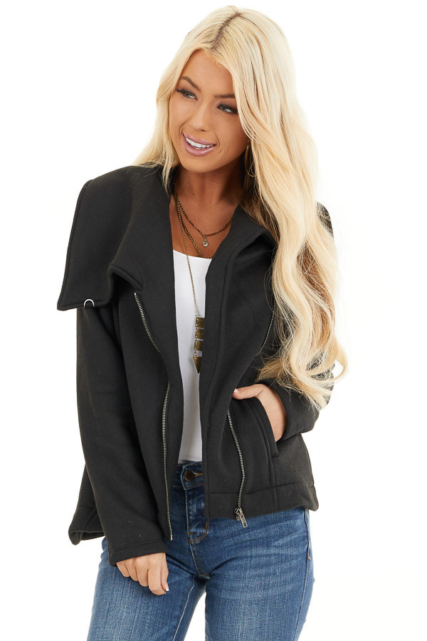 Black Asymmetrical Jacket with Long Sleeves and Pockets front close up
