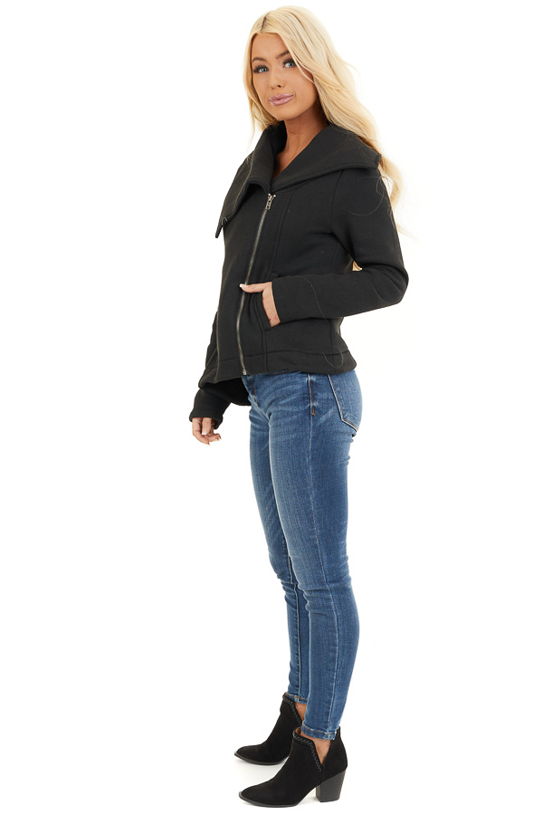Black Asymmetrical Jacket with Long Sleeves and Pockets side full body