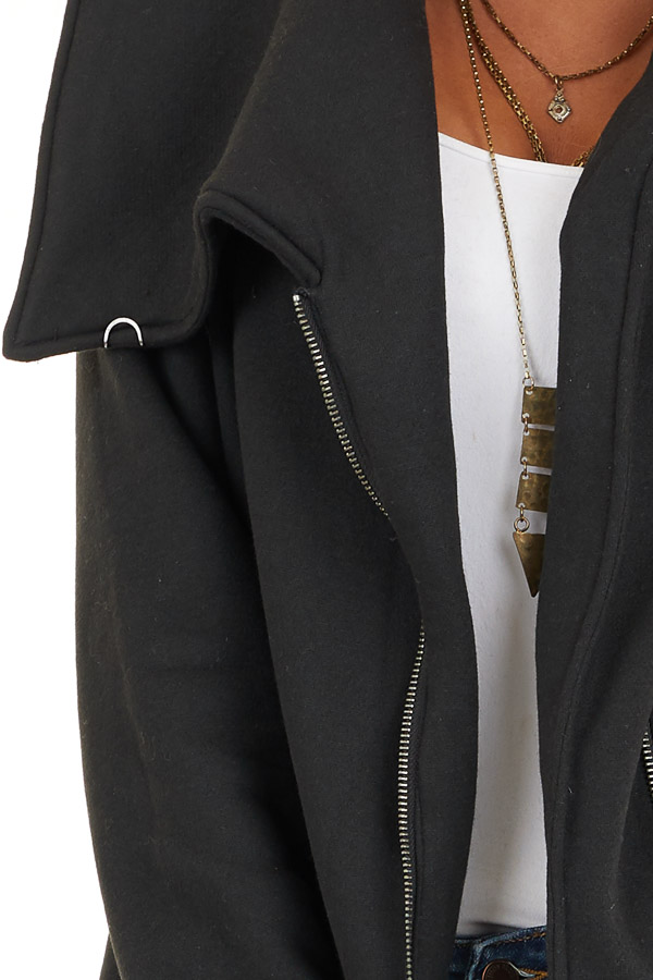 Black Asymmetrical Jacket with Long Sleeves and Pockets detail