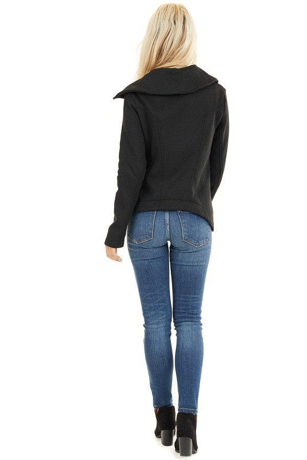 Black Asymmetrical Jacket with Long Sleeves and Pockets back full body
