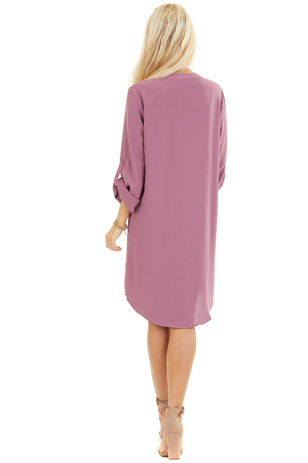 Lilac Woven Shirt Dress with V Neckline and 3/4 Sleeves back full body