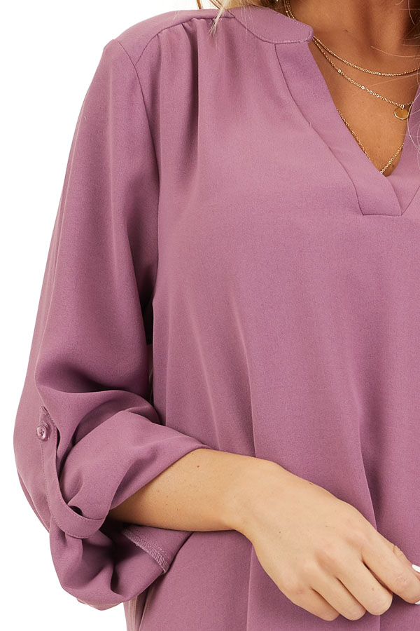 Lilac Woven Shirt Dress with V Neckline and 3/4 Sleeves detail