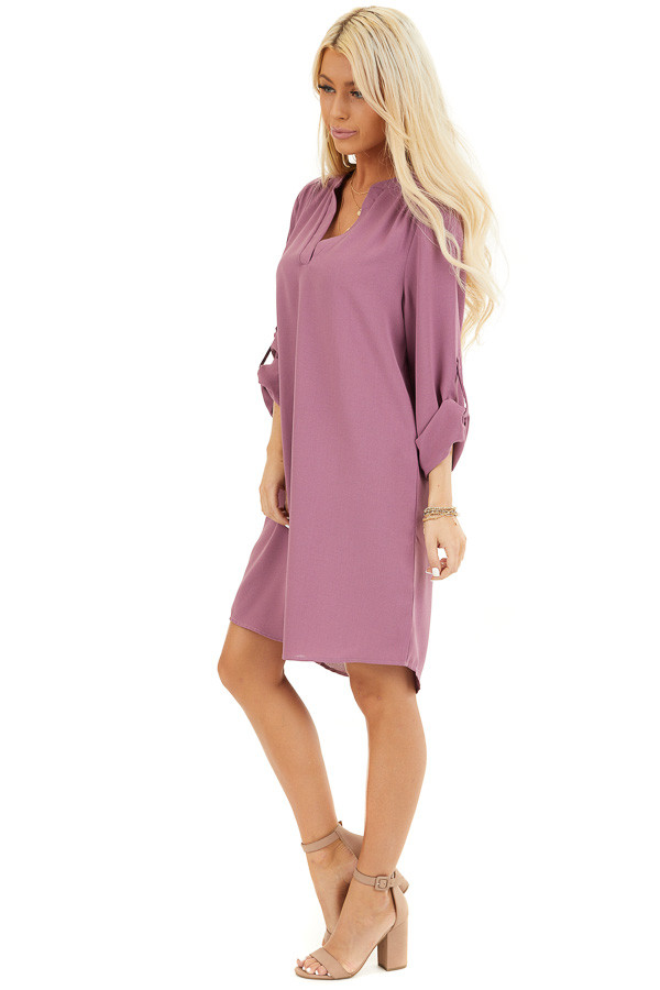 Lilac Woven Shirt Dress with V Neckline and 3/4 Sleeves side full body