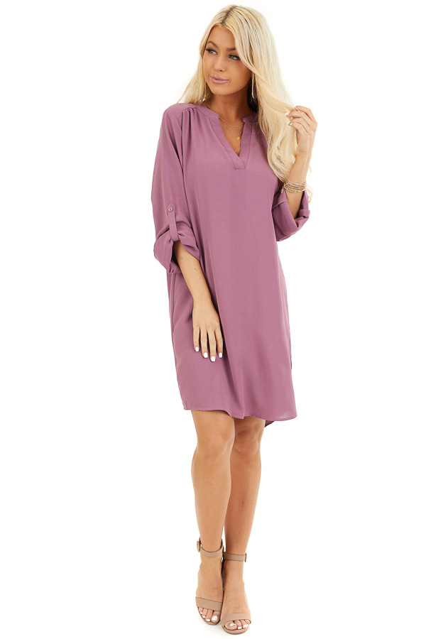 Lilac Woven Shirt Dress with V Neckline and 3/4 Sleeves front full body