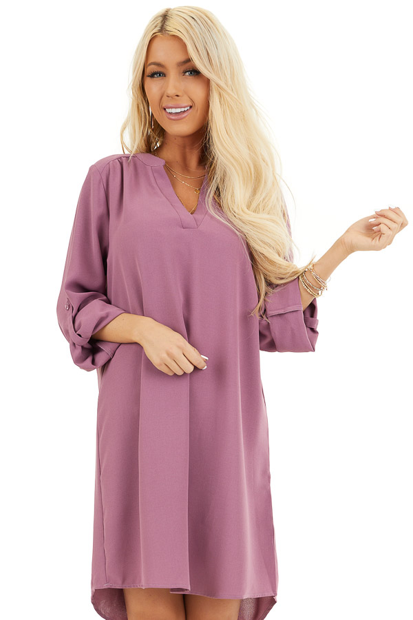 Lilac Woven Shirt Dress with V Neckline and 3/4 Sleeves