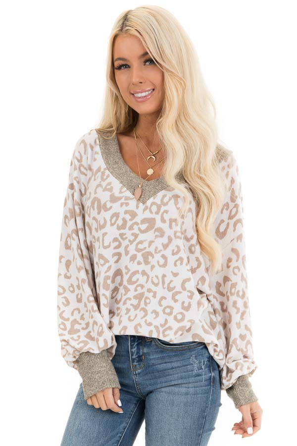 Pearl and Latte Leopard Print V Neck Top with Taupe Contrast front close up
