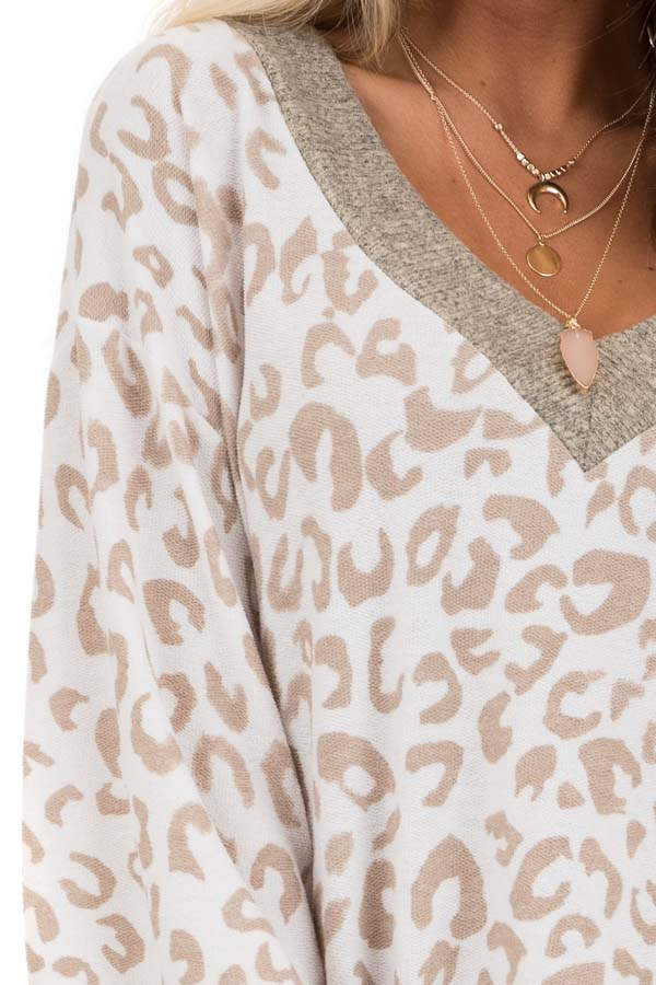 Pearl and Latte Leopard Print V Neck Top with Taupe Contrast detail