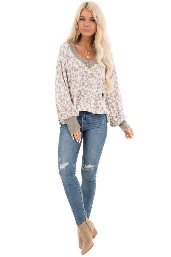 Pearl and Latte Leopard Print V Neck Top with Taupe Contrast front full body