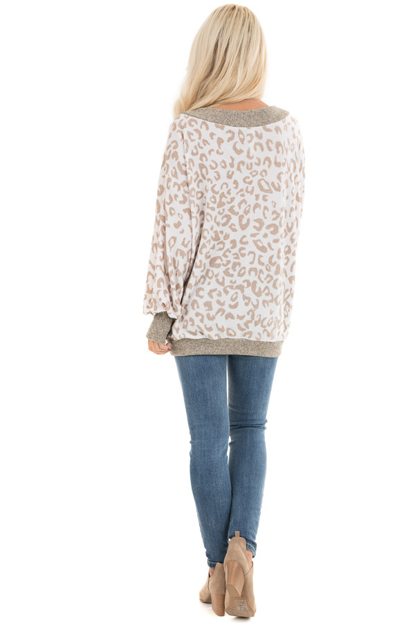 Pearl and Latte Leopard Print V Neck Top with Taupe Contrast back full body