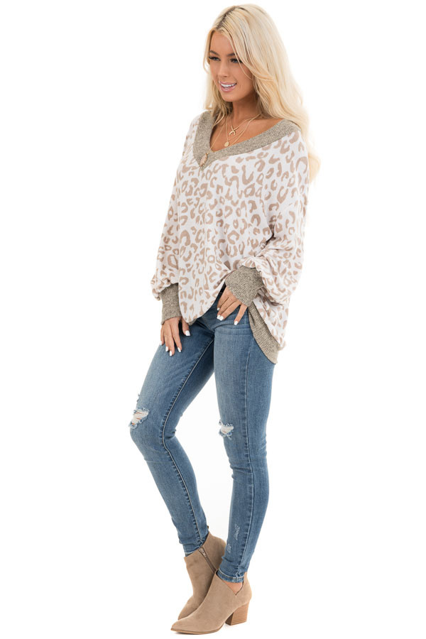 Pearl and Latte Leopard Print V Neck Top with Taupe Contrast side full body