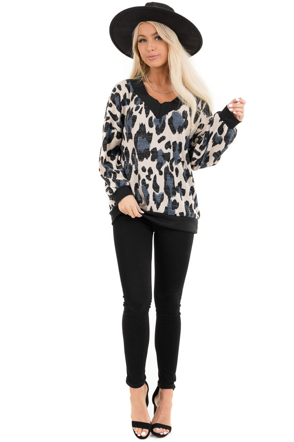 Ivory and Blue Leopard Print Knit Top with Contrast Neckline front full body