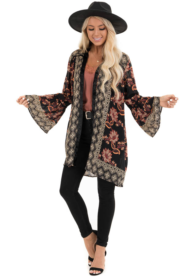 Black Floral Print Kimono with Bell Sleeve and Velvet Detail front full body