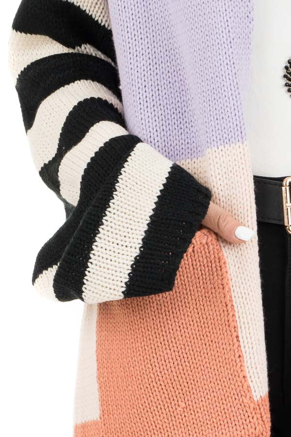 Lavender and Salmon Colorblock Knit Cardigan with Stripes detail