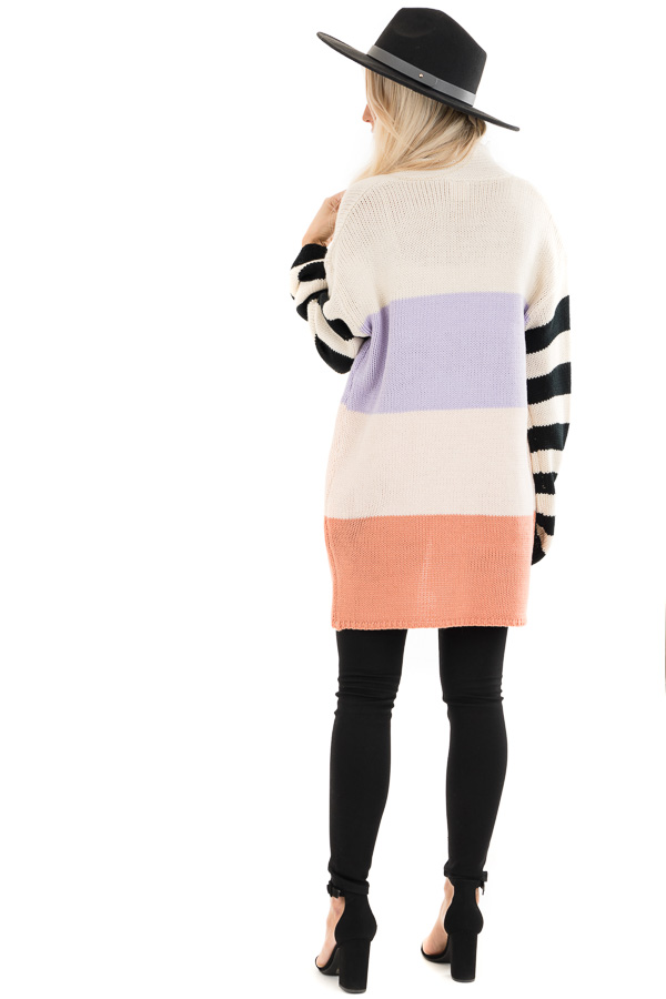 Lavender and Salmon Colorblock Knit Cardigan with Stripes back full body