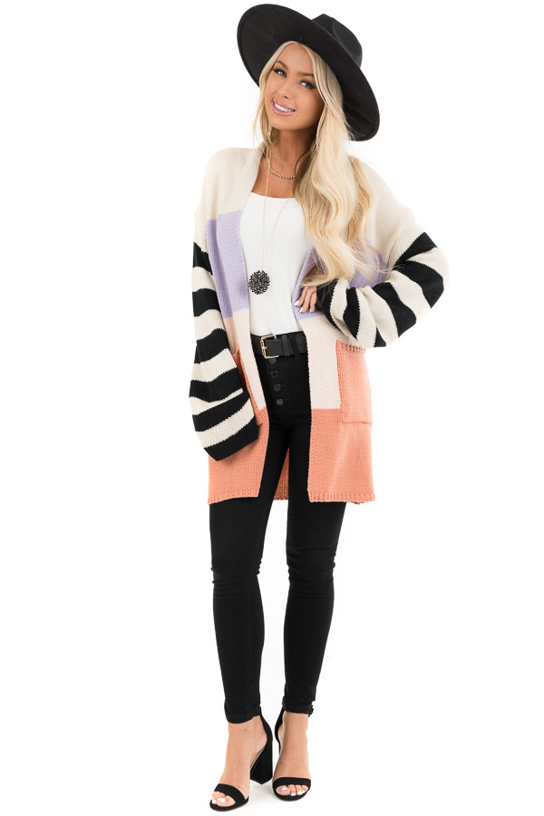 Lavender and Salmon Colorblock Knit Cardigan with Stripes front full body