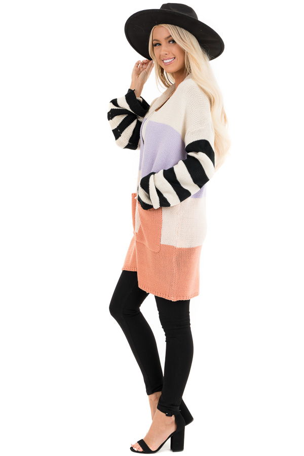Lavender and Salmon Colorblock Knit Cardigan with Stripes side full body