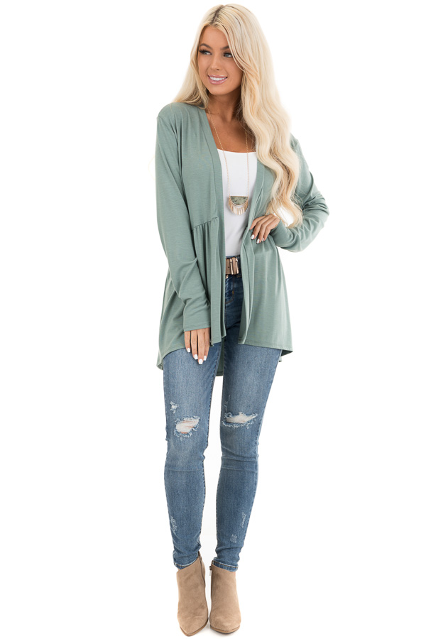 Sage Long Sleeve Knit Cardigan with Shirring Details front full body