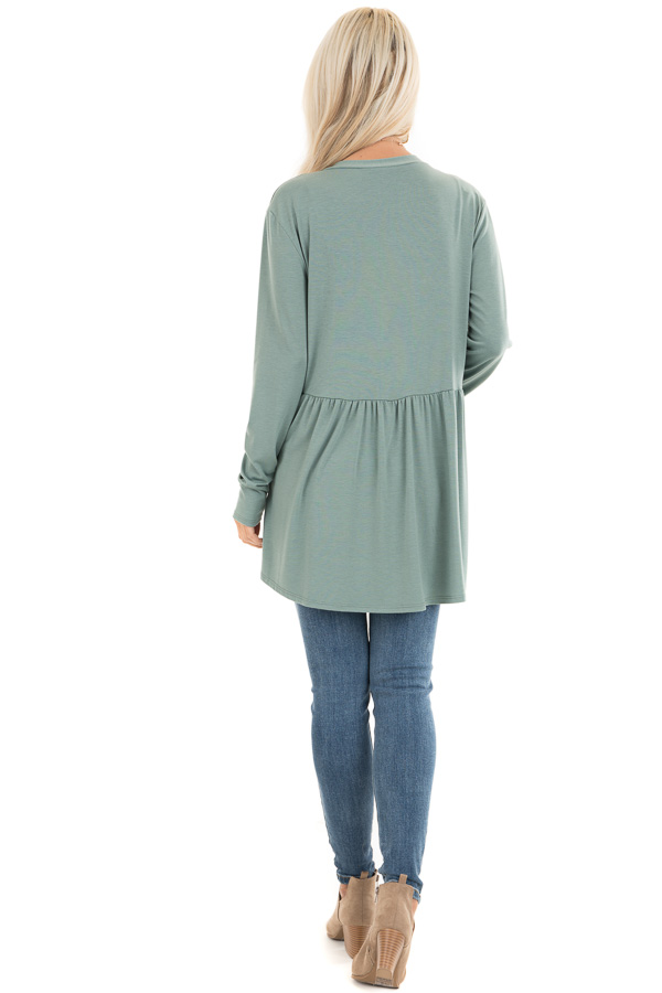 Sage Long Sleeve Knit Cardigan with Shirring Details back full body