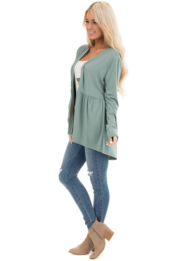 Sage Long Sleeve Knit Cardigan with Shirring Details side full body