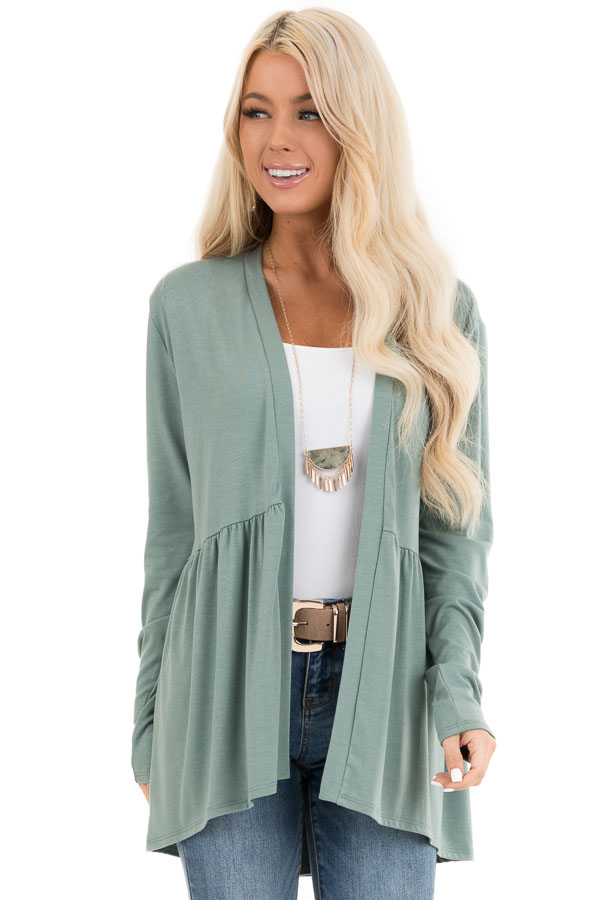 Sage Long Sleeve Knit Cardigan with Shirring Details front close up