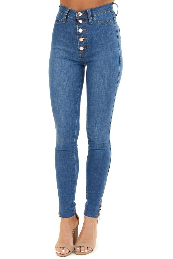 Medium Wash High Waisted Jeans with Rose Gold Details front view