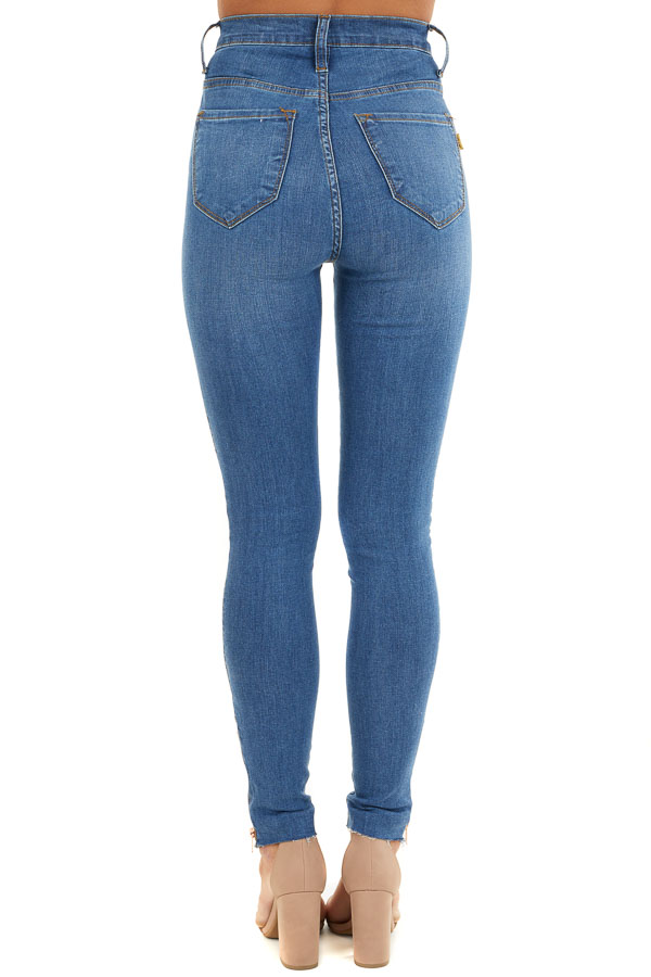 Medium Wash High Waisted Jeans with Rose Gold Details back view