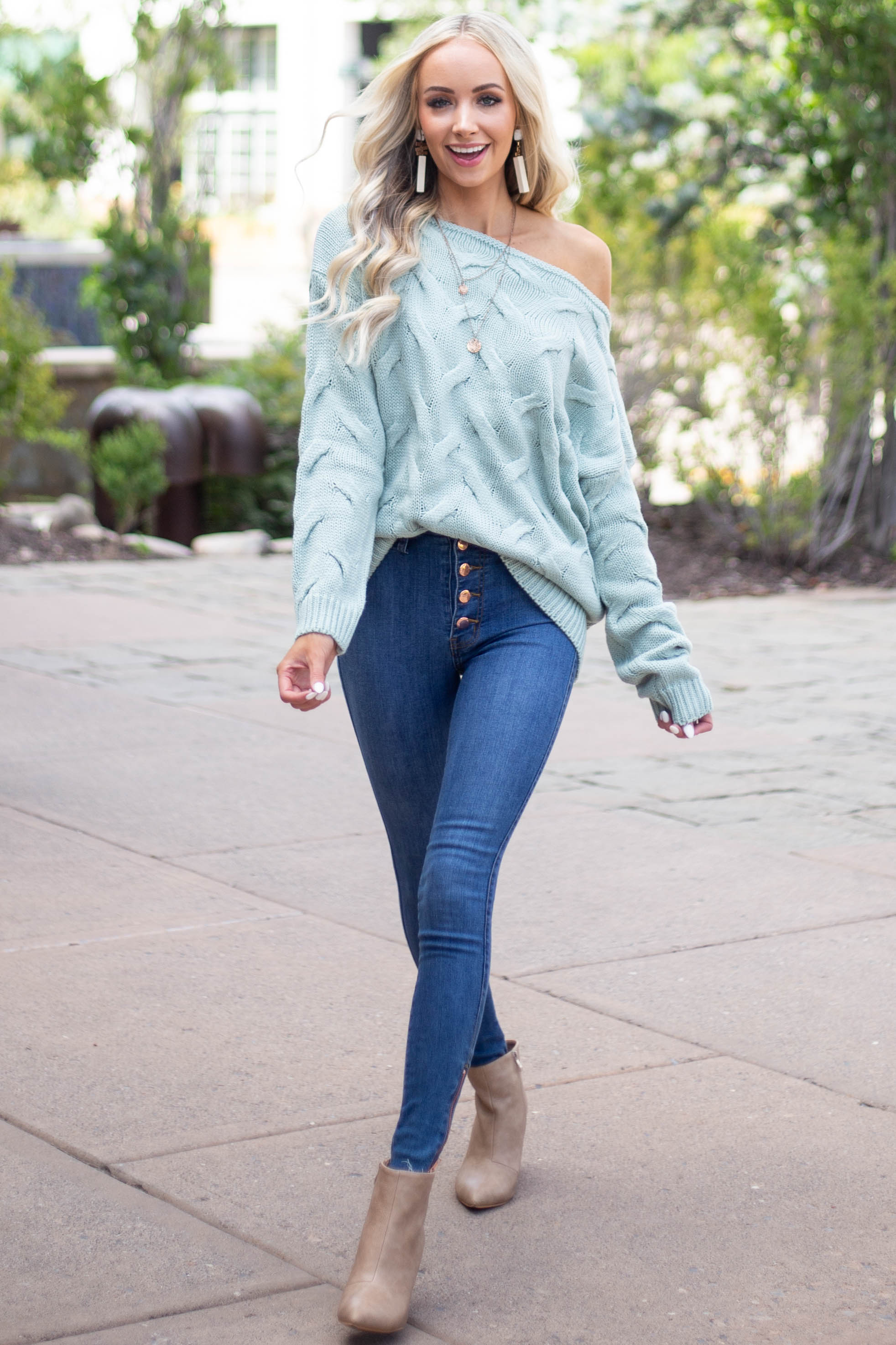 Medium Wash High Waisted Jeans with Rose Gold Details