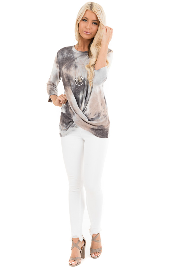 Latte Tie Dye Soft Long Sleeve Knit Top with Twisted Front front full body