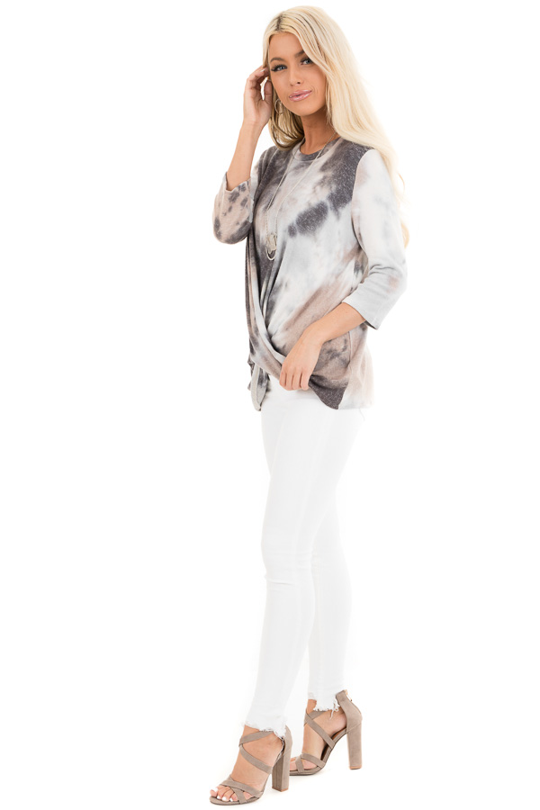 Latte Tie Dye Soft Long Sleeve Knit Top with Twisted Front side full body