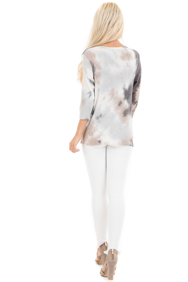 Latte Tie Dye Soft Long Sleeve Knit Top with Twisted Front back full body