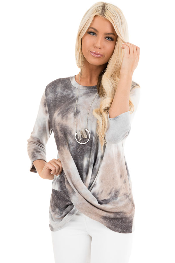 Latte Tie Dye Soft Long Sleeve Knit Top with Twisted Front front close up