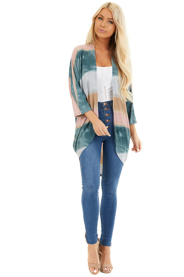 Dark Teal Watercolor Print Cardigan with 3/4 Dolman Sleeves front full body