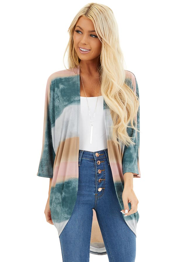Dark Teal Watercolor Print Cardigan with 3/4 Dolman Sleeves front close up
