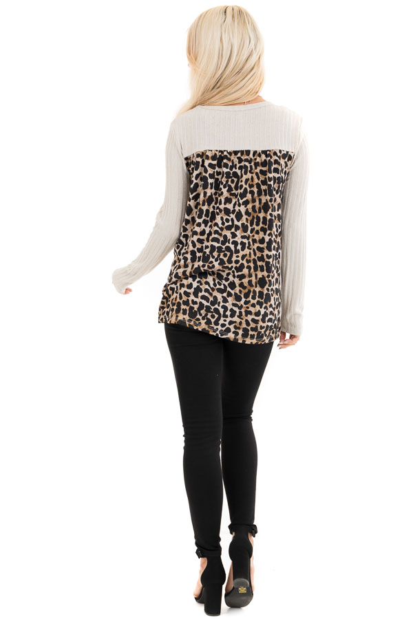 Oatmeal Layered Leopard Print Ribbed Long Sleeve Knit Top back full body