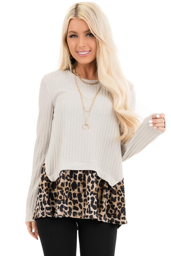 Oatmeal Layered Leopard Print Ribbed Long Sleeve Knit Top front close up