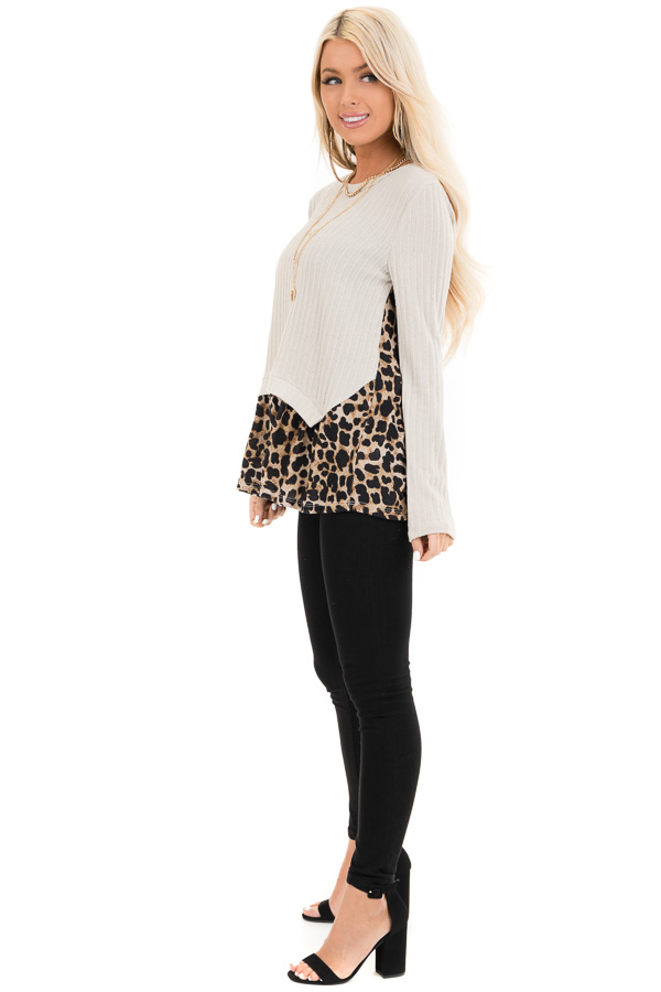Oatmeal Layered Leopard Print Ribbed Long Sleeve Knit Top side full body