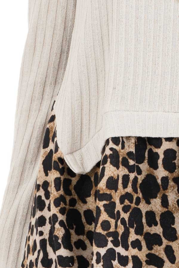 Oatmeal Layered Leopard Print Ribbed Long Sleeve Knit Top detail