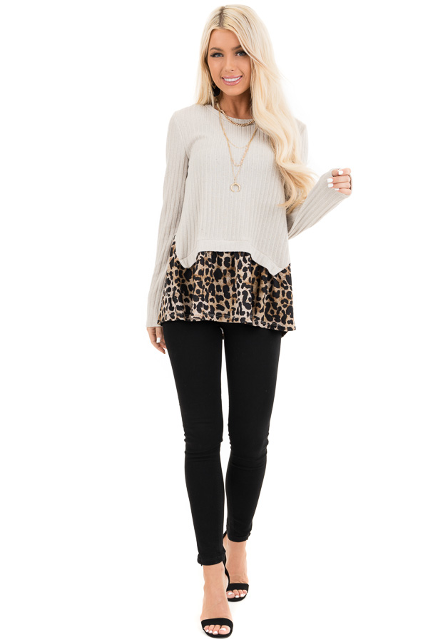 Oatmeal Layered Leopard Print Ribbed Long Sleeve Knit Top front full body
