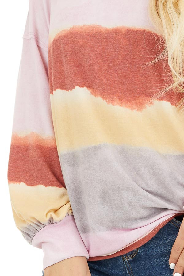 Baby Pink and Rust Watercolor Print Long Sleeve Top detail