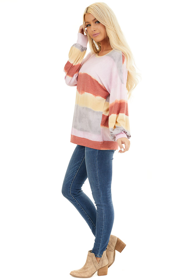 Baby Pink and Rust Watercolor Print Long Sleeve Top side full body