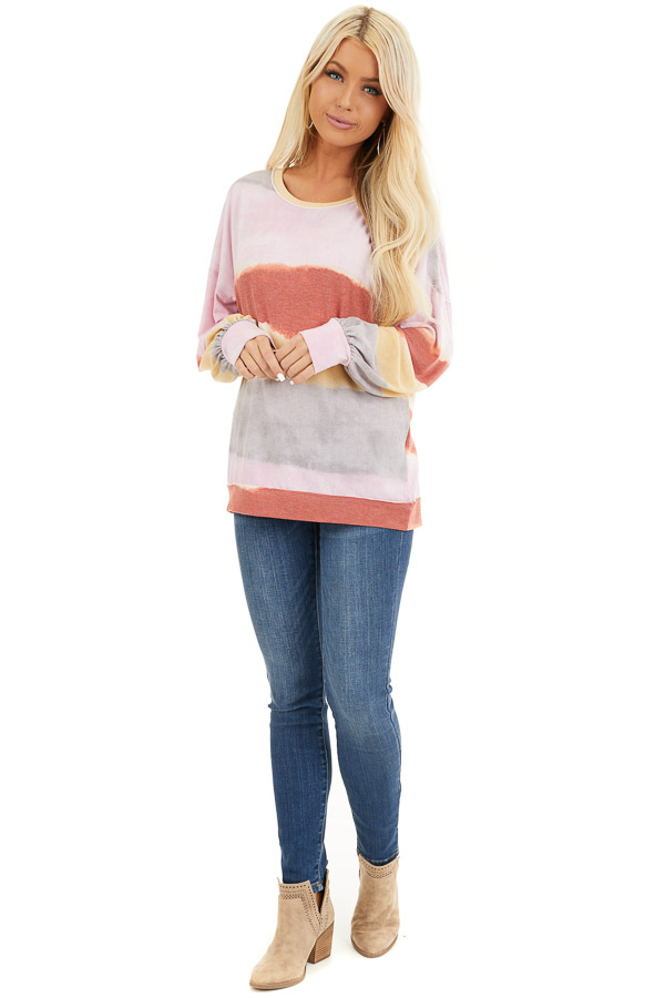 Baby Pink and Rust Watercolor Print Long Sleeve Top front full body