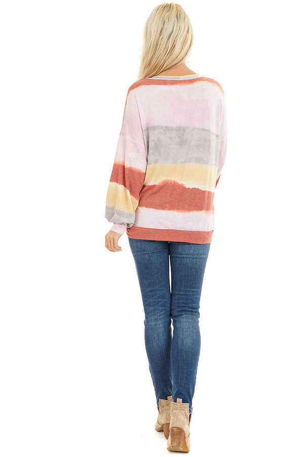 Baby Pink and Rust Watercolor Print Long Sleeve Top back full body