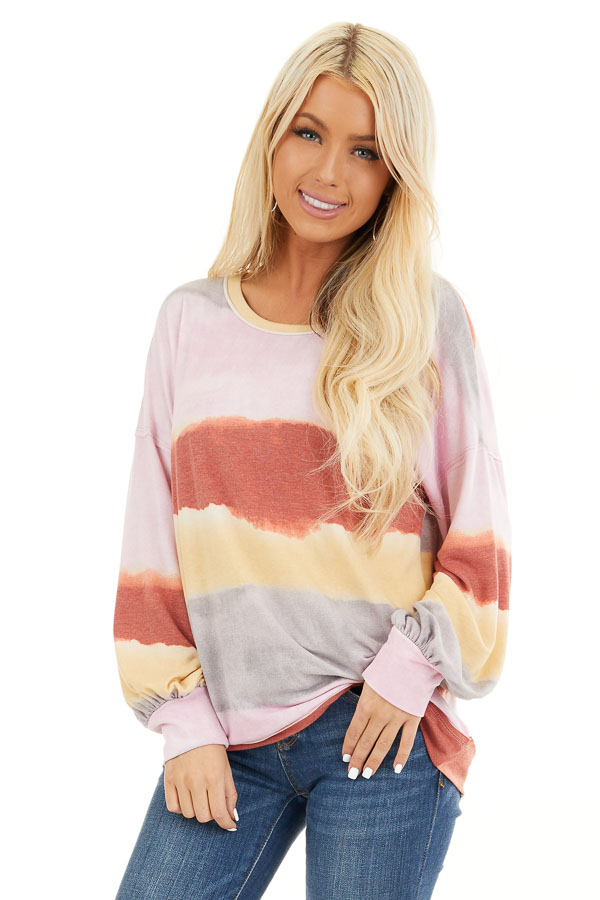 Baby Pink and Rust Watercolor Print Long Sleeve Top front close up