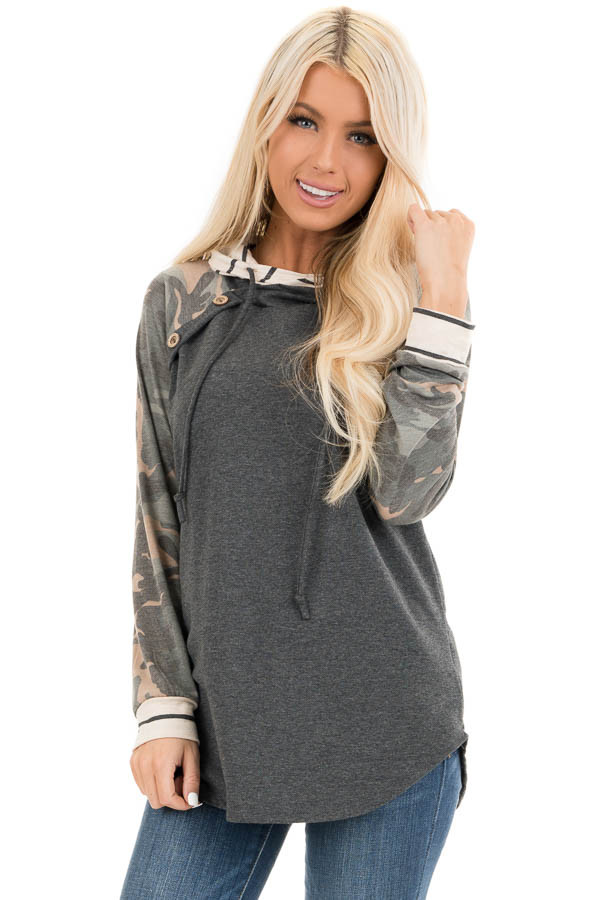 Charcoal Camo Print Long Sleeve Pullover Hoodie with Buttons front close up