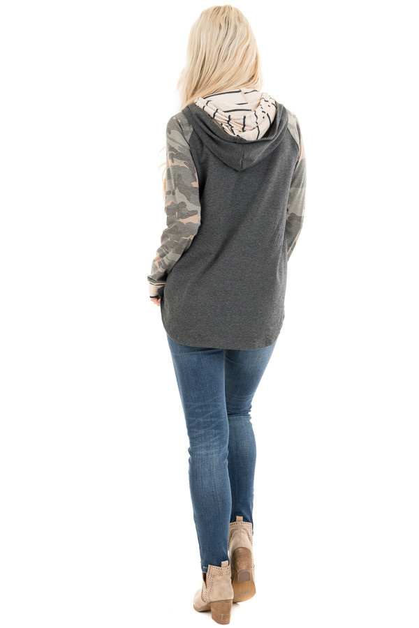 Charcoal Camo Print Long Sleeve Pullover Hoodie with Buttons back full body