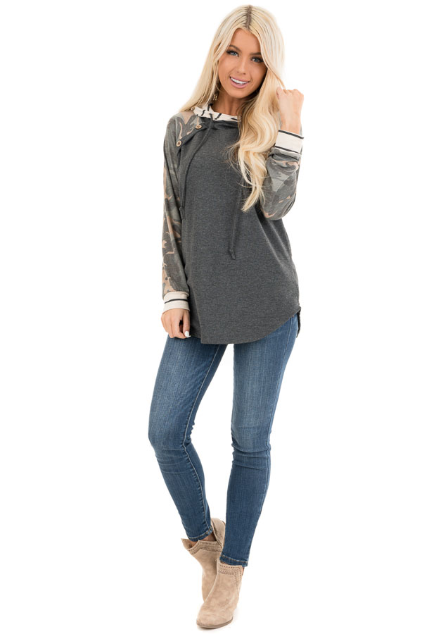 Charcoal Camo Print Long Sleeve Pullover Hoodie with Buttons front full body