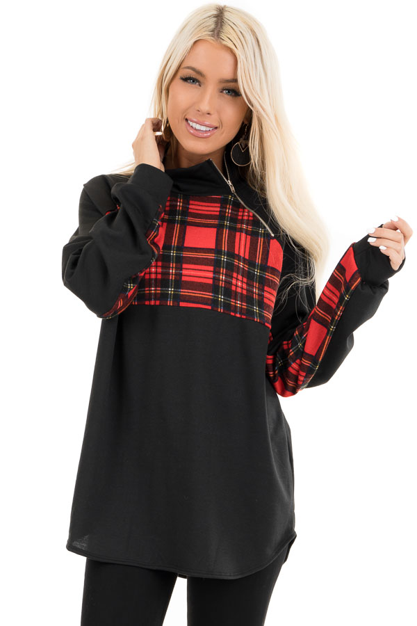 Black and Lipstick Red Plaid Print Pullover Knit Top front close up