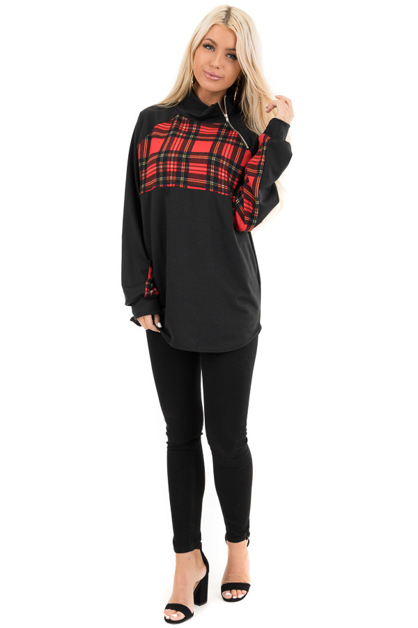 Black and Lipstick Red Plaid Print Pullover Knit Top front full body