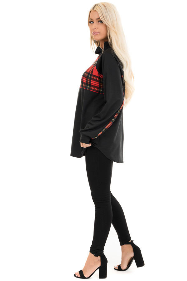 Black and Lipstick Red Plaid Print Pullover Knit Top side full body