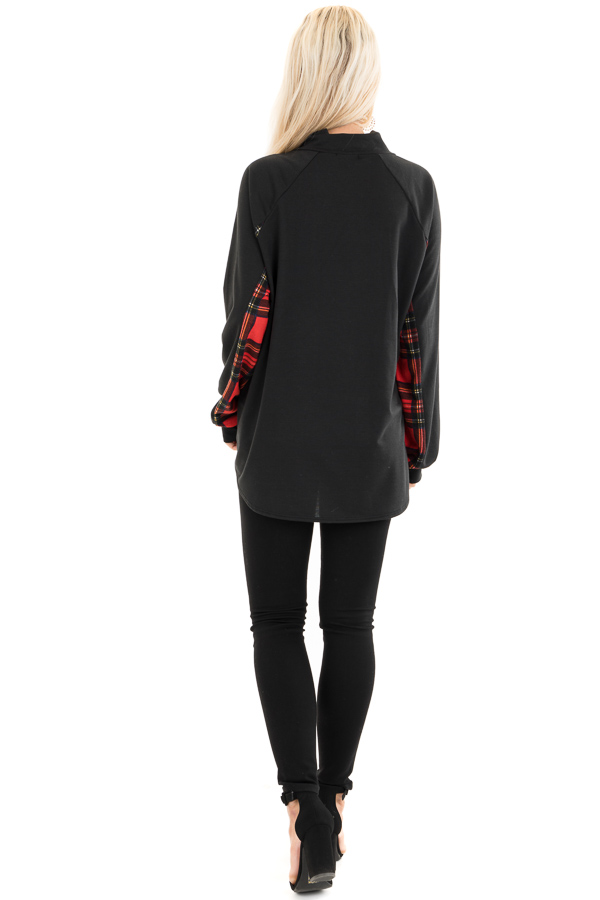 Black and Lipstick Red Plaid Print Pullover Knit Top back full body